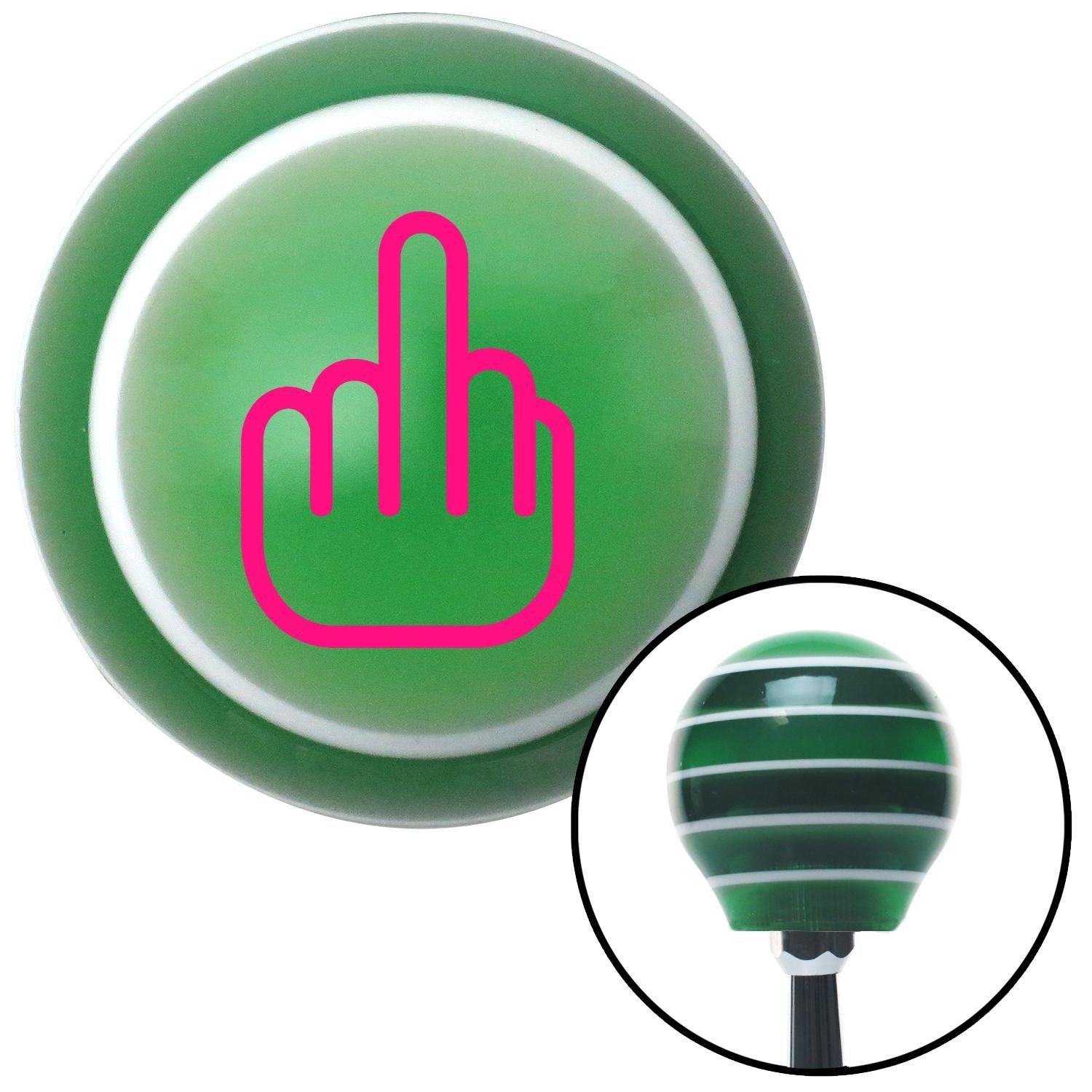 Pink Smooth Middle Finger American Shifter 122646 Green Stripe Shift Knob with M16 x 1.5 Insert