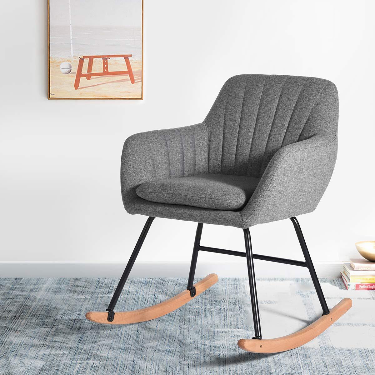 Grey Fabric Metal Rocking Chair Living Room Armchair FurnitureR