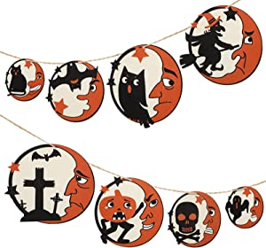 8 Pieces Man Moon Halloween Wooden Pendant Halloween Hanging Wooden Ornaments Hanging Wood Sign Decor with Pumpkin Bat Cat Ghost Cat Witch Skull for Home Party Craft Decoration