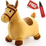 Hopping Horse - iPlay, iLearn Toddler Riding Horse Hopper Inflatable Ride On Horse Toys Plush covered with pump(Yellow)