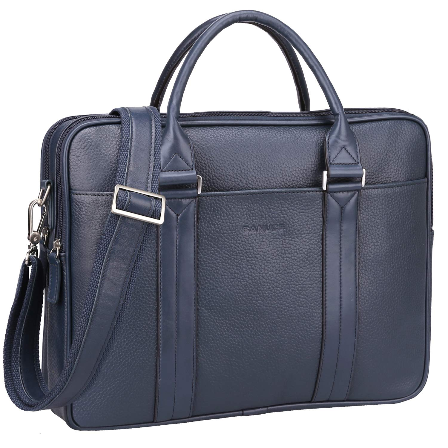 Amazon.com  BANUCE Briefcase for Men Women Top Grain Cowhide Leather  Business Tote Laptop Messenger Shoulder Bag Fit 14