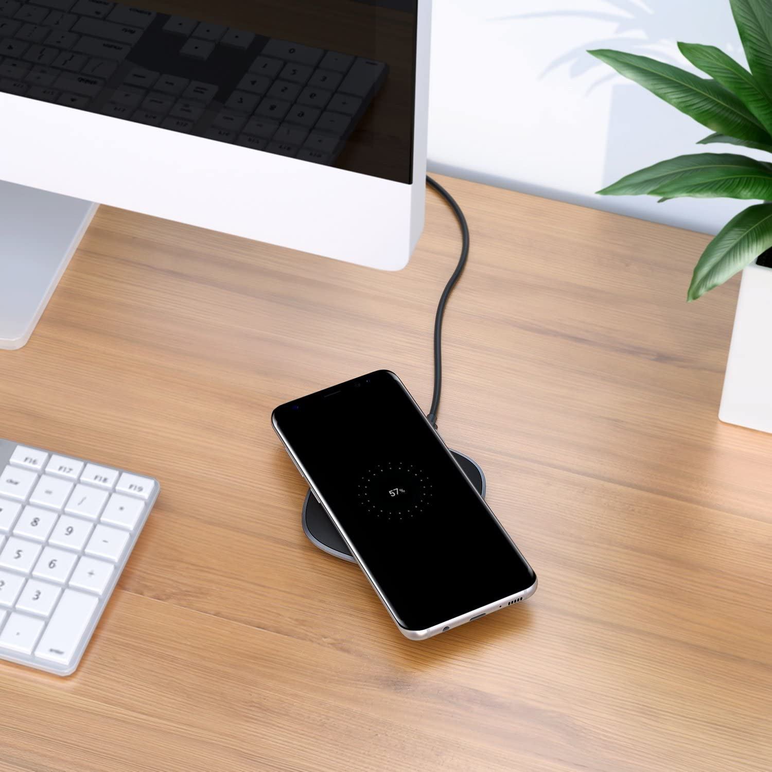 no Need to Remove Case AUKEY Wireless Charger 10W Qi Fast Charging with Micro USB and ABS Base Non-Metal Deliver Precise Power to Most Qi Enabled Smartphones