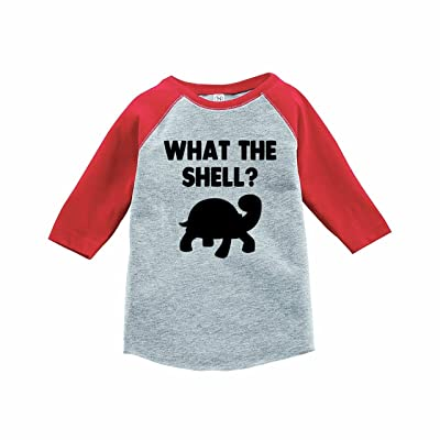 7 ate 9 Apparel Funny Kids What The Shell Baseball Tee Red