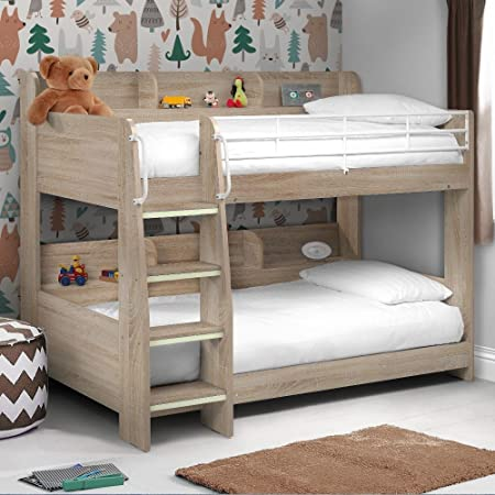 Happy Beds Domino Oak Wooden And Metal Kids Storage Bunk Bed Modern Sleep  Station Frame Only