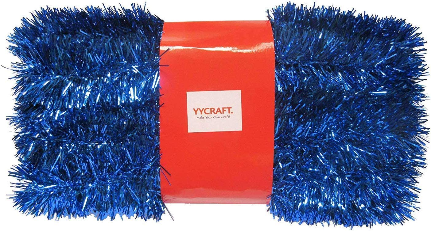 YYCRAFT 10 Yards (30 Feet) Commercial Length Thick Foil Tinsel Christmas Garland Classic Christmas Decorations, Royal