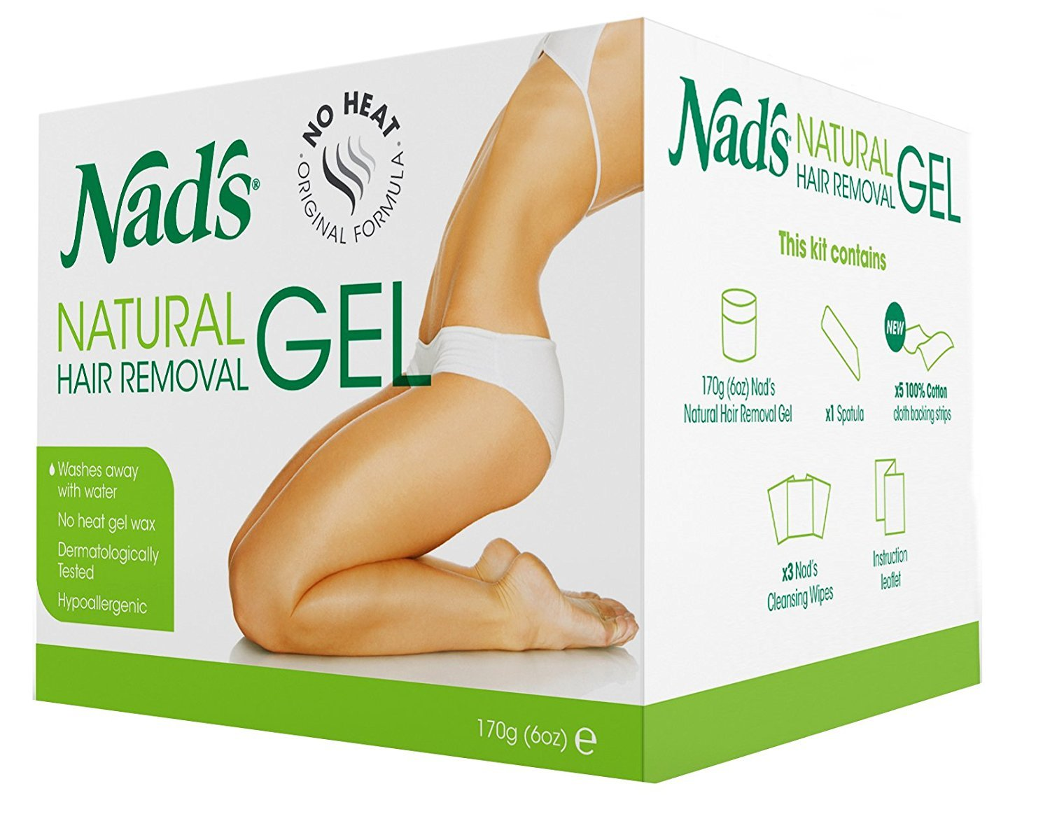 Nad's Natural Hair Removal Gel Refill for Kit No Heating Waxing (6 Pack)
