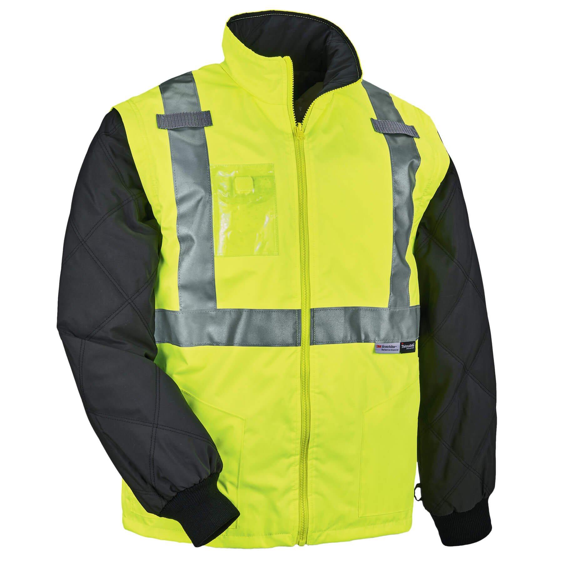 Ergodyne GloWear 8287 High Visibility Reflective Convertible Thermal Vest/Jacket, X-Large, Lime