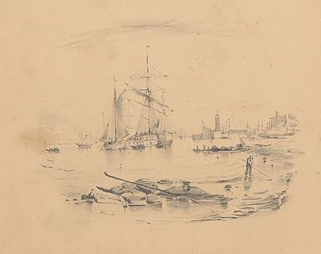 H  Hood - 19th Century Graphite Drawing, Sailing Ships at