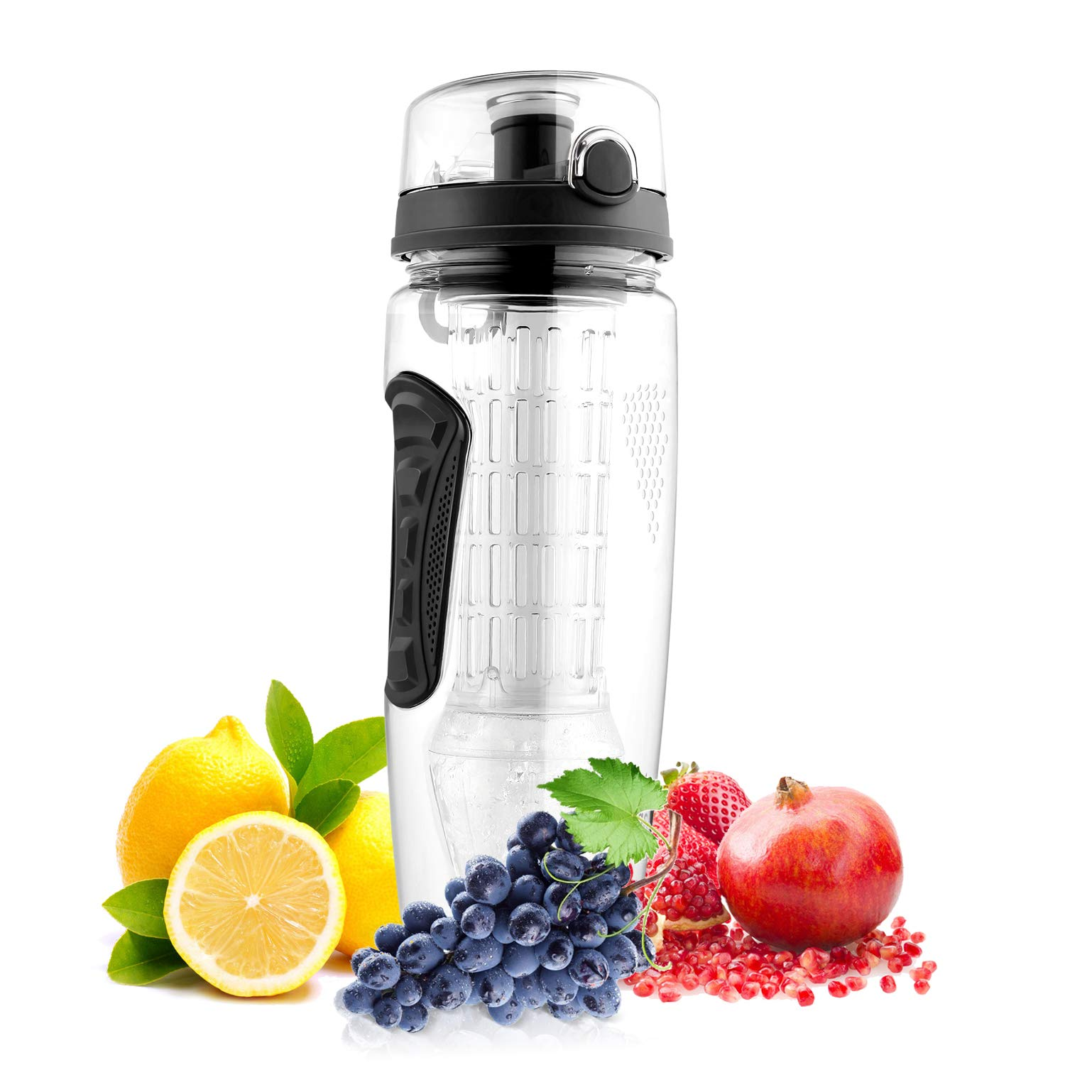 amzdeal Fruit Infuser Water Bottle 1L / 32 Oz Sports Water Bottle BPA Free with Infusion Rod and Freezer Ice Ball Leak Proof and Non-Slip Design for Outdoor School Office - Black