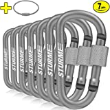 """Accessory & Keychain Carabiners STURME Carabiner Clip 3"""" Aluminum D-Ring Locking Durable Strong and Light Large Carabiners Clip Set for Outdoor Camping Screw Gate Lock Hooks Spring Link Improved Design LKA11 Outdoor Recreation"""