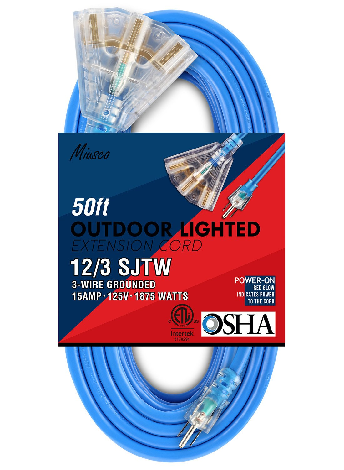 Miusco 50 Ft Extension Cord 12 Gauge 3 Prong Outdoor Sjtw Replacement Electrical Plugs 15amp 125v Ebay Triple Outlets Lighted Plug Heavy Duty Fluorescent Blue