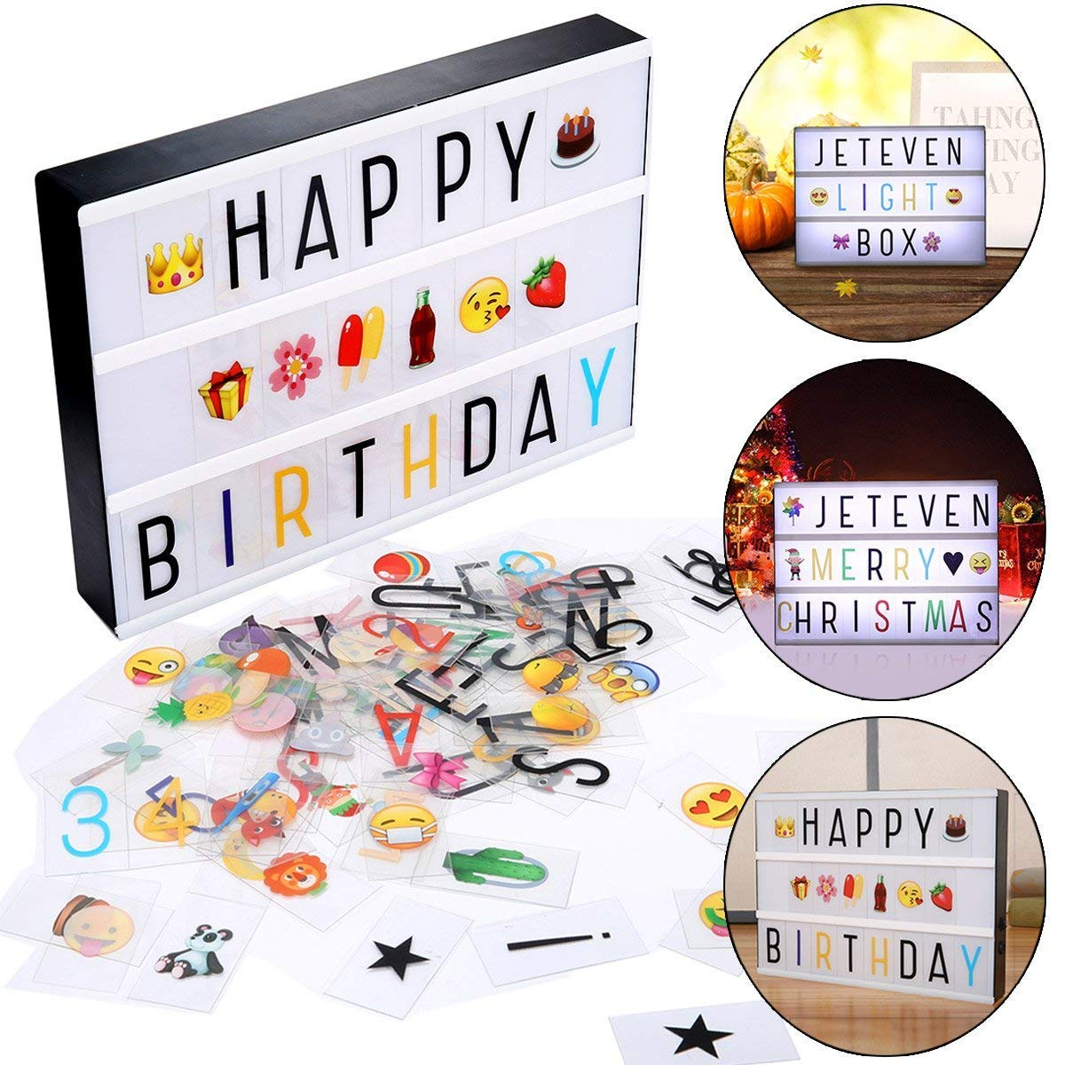 Jeteven Cinema LED Letter Light Box with 210 Letters, Emoji & Numbers, A4 Size Decorative Signs Year Valentine\'s Day Birthday Party, USB/Battery Powered