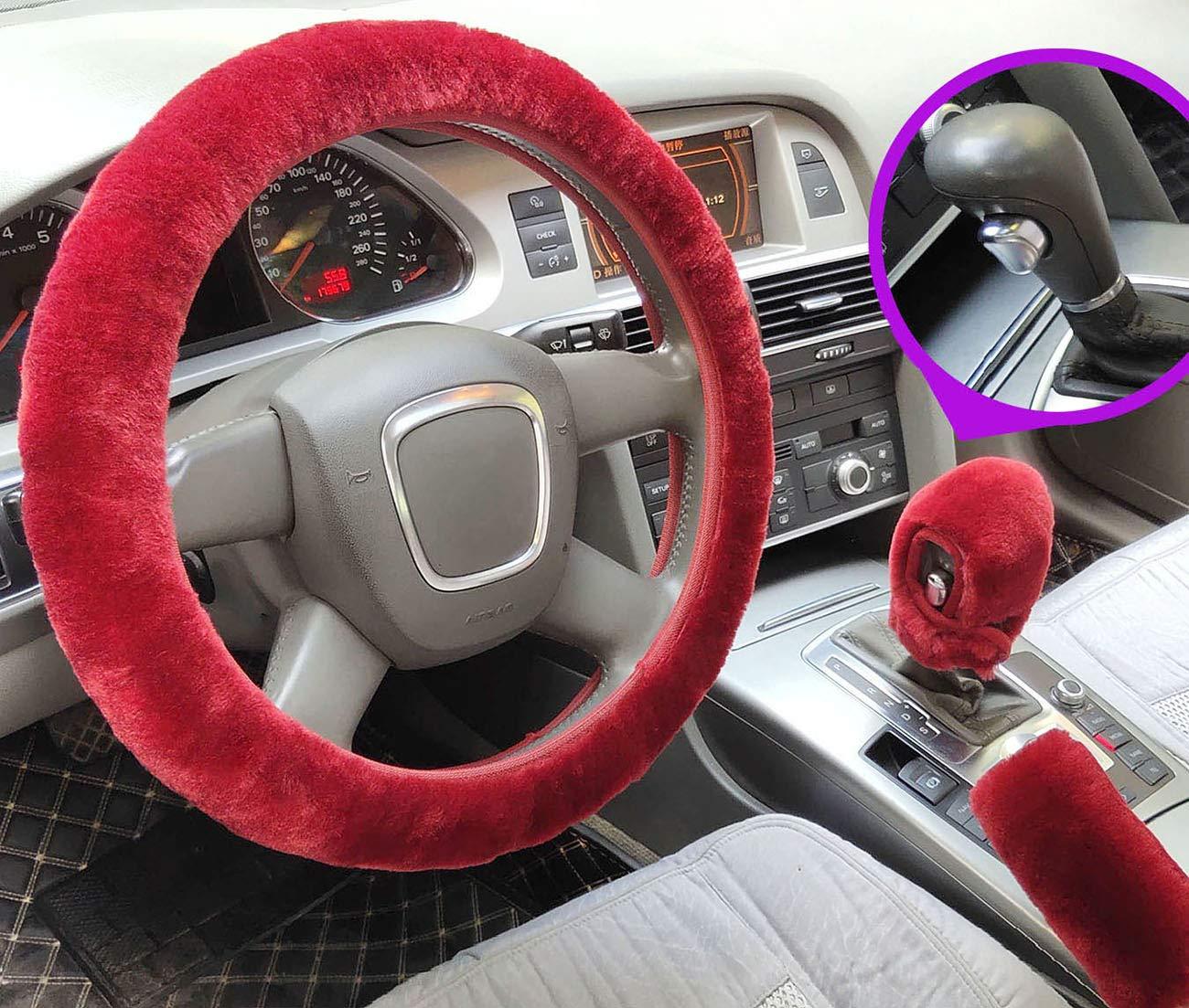 Nuovo coprivolante in peluche in finta lana copri freno a mano automatico, rainbow copri cambio inverno caldo universale per auto interni 3 pezzi//set