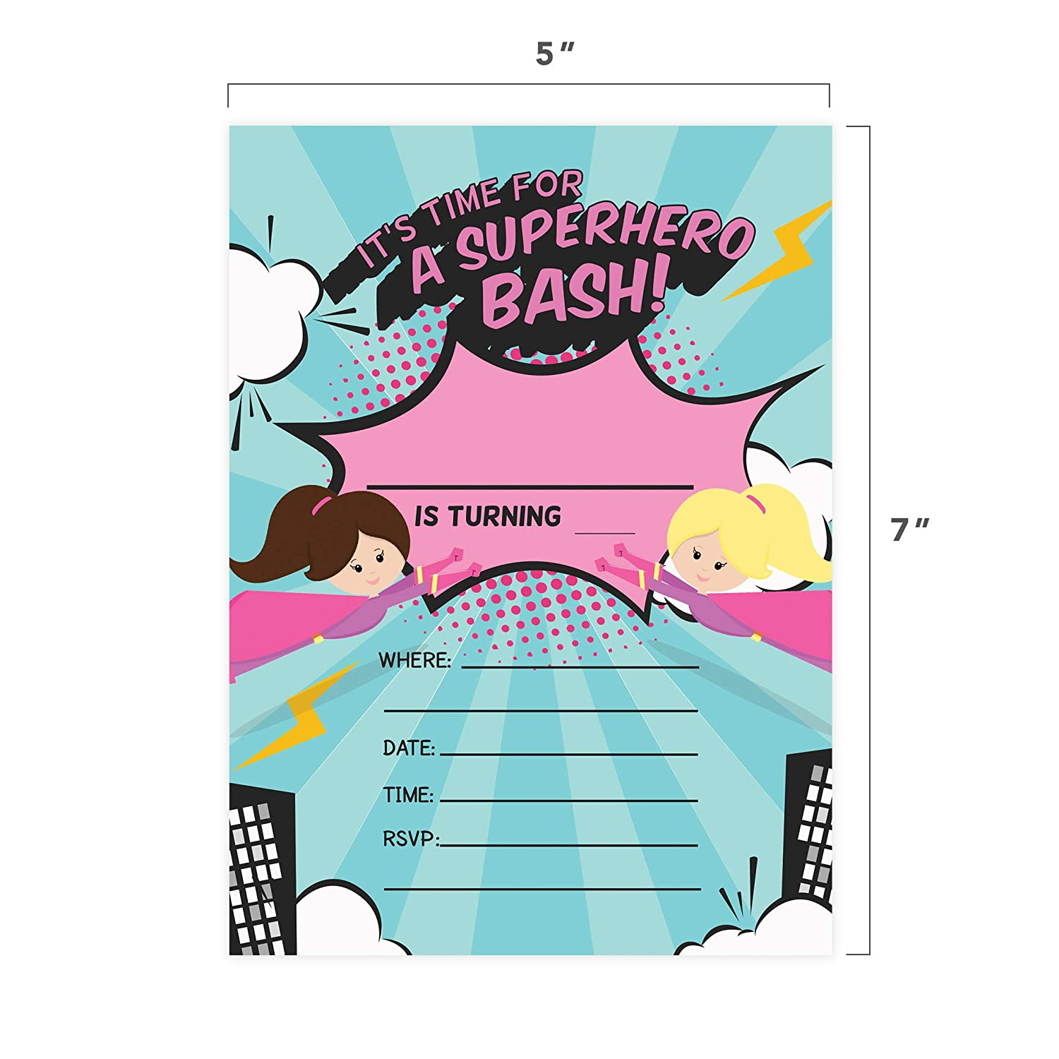 Superhero Girl 3 Happy Birthday Invitations Invite Cards With Envelopes /& Seal Stickers Vinyl Girls Kids Party 25 Count 25ct