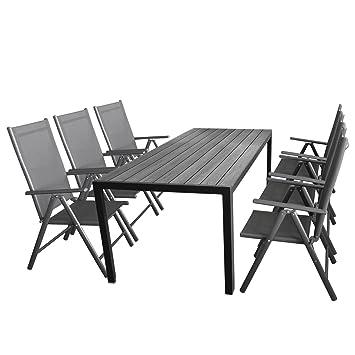 Elegant Wohaga Gartenmöbel Set 7tlg. Sitzgarnitur Mit Aluminium, Polywood  Gartentisch + 6X Verstellbare Aluminium