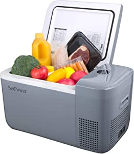 Setpower FC20 21 Quarts Portable Freezer Fridge 12V Cooler, 0℉-50℉, DC 12/24V, Car Fridge Compact Refrigerator, for Truck, Van, RV Road Trip, Outdoor, Camping, Picnic, BBQ