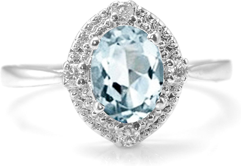 Natural Aquamarine Rings Sparkling 925 Sterling Silver Fine Gemstone Engagement