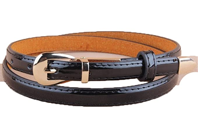ebc17840244a Amazon.com  cummerbund buckle genuine japanned leather thin belt women  candy color belts female  Clothing
