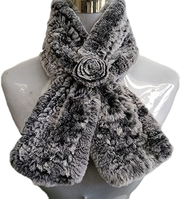 055fa3585 Song Qing Women Faux Rabbit Fur Flower Scarf Warm Winter Shawl Soft Frost  Bib Scarves Grey