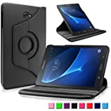 Infiland Samsung Galaxy Tab A 10.1 Case Cover,Premium Vegan Leather 360 Degree Rotating Swivel Stand for Samsung Galaxy Tab A 10.1 inch (2016) SM-T580N/ SM-T585N Tablet-PC(with Auto Sleep / Wake Feature)(Black)