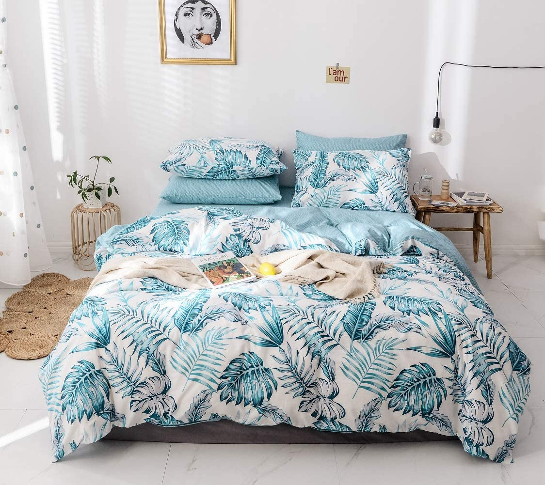 Palm Duvet Cover Queen,100-percent Cotton Botanical Palm 3pc Bedding Set,Blue Tropical Plant and Banana Leaves Pattern Printed with Zipper Closure 4 Corner Ties,Lightweight,Soft Breathable Palm,Queen