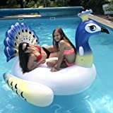 XinoSports Deluxe Inflatable Pool Float, Lounger Giant Peacock Raft with 2 Sturdy Handles, Incredible Fun for the Whole Family! Floatie for Pools, Lakes or the Beach