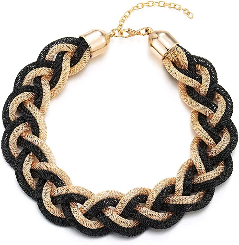COOLSTEELANDBEYOND Gold Black Statement Necklace, Braided Hollow Cable Large Bib Choker Collar, Dress Prom
