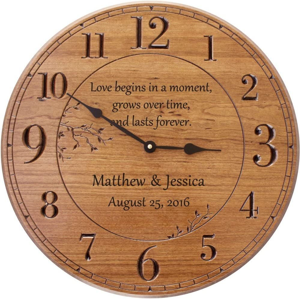 Amazon Com Personalized Wall Clock 17 In Wall Clock Customized For Anniversary Home Kitchen