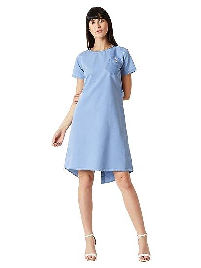 2a70b2d129b Miss Chase Women's Light Blue Round Neck Cotton Buttoned Denim Dress
