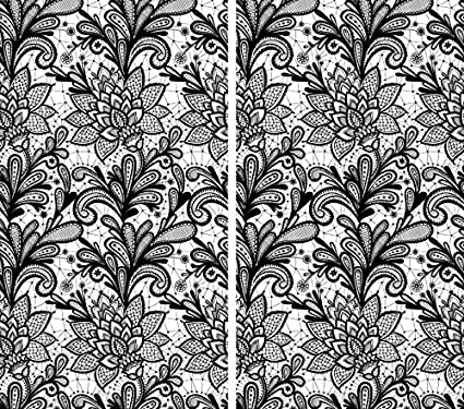 Set of 2 Black and White Curtains Window Panels Print Asian Japanese Style Tree Branch With Red Leaves Rod Pocket W84 x L84 inches Drapes for Living Room Bedroom Kitchen