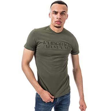 06b6ee6a4b3 EMPORIO ARMANI Mens Crew Neck Cotton Stretch T-Shirt in Green  Armani   Amazon.co.uk  Clothing