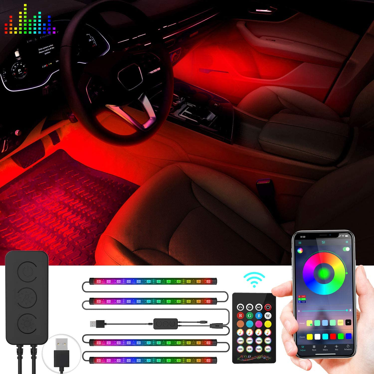 WEISIJI Car LED Strip Light, Multi DIY Color Music Waterproof Under Dash Lighting Kits,APP Controller with USB Charge Port for Home Decoration Car Interior Lights