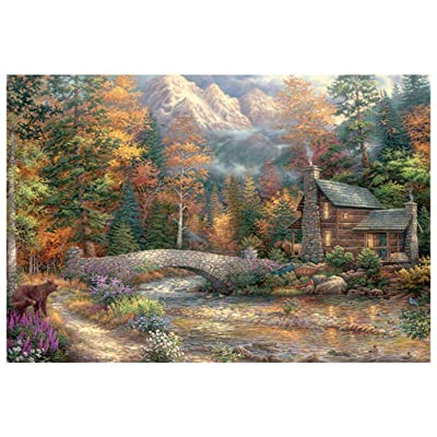 1000 Piece Activity Jigsaw Puzzle, Sallymonday Full Colour Quiet Mountain Cabin, Enjoy Recreational Time with Family & Friends: Toys & Games