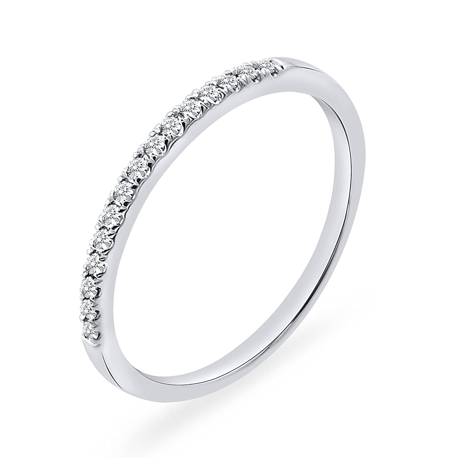 925 Sterling Silver 0.10 CT. Round Natural Diamond Anniversary Wedding Band For Women Rare Earth Diamond Jewellery RG000189A-925-P
