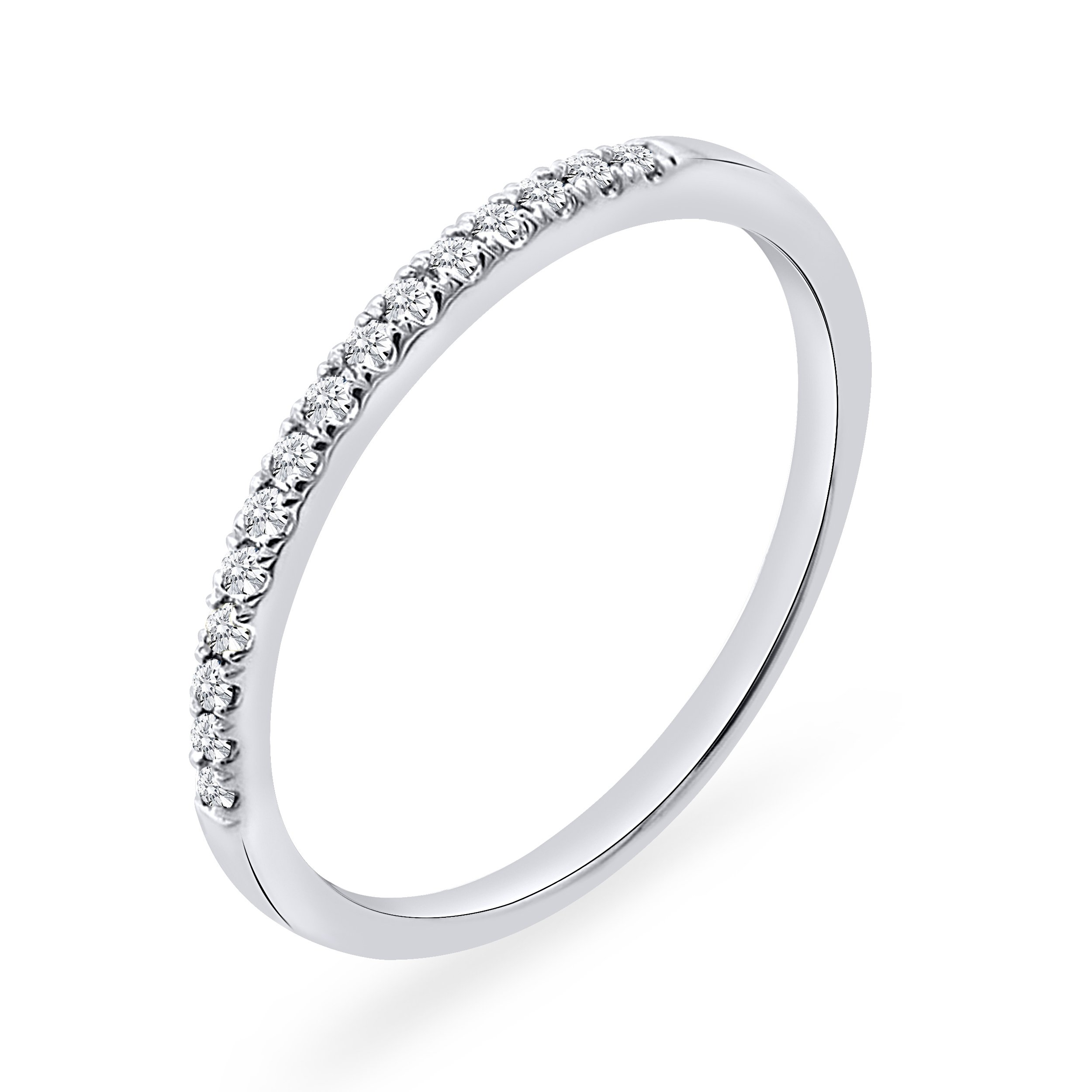 925 Sterling Silver 0.10 CT. Round Natural Diamond Anniversary Wedding Band For Women
