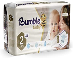 Bumble Baby Diapers, Size 2 3-6KG 44 Counts drip Proof barriers, Textile Surfaces, Absorbing Particles, Ultra-Flexible Side Grip Strips (2)