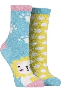 Ladies 2 Pair SockShop Snugsoles Rabbit Fluffy Bed Socks