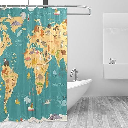 Amazon Com Shower Curtain Custom Fabric Set 72x72 Inch World Map