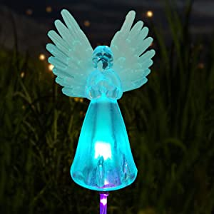 Angel Landscape Path Lights Solar LED Outdoor Christmas Decor Christmas Lights Memorial Angel Light Garden Stake Outdoor In-Ground Lights Outdoor Cemetery Grave Angels Statue Christmas Party Decor
