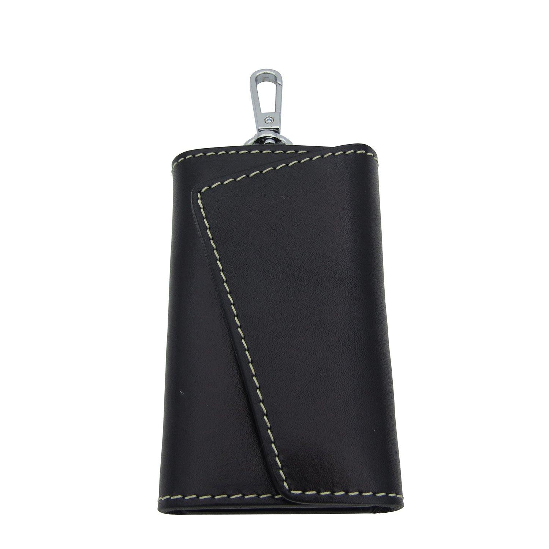 BESYL Black Genuine Leather Car Key Case ID Card Holder Wallet with 6 Hooks Keychain Keyring for Men & Women