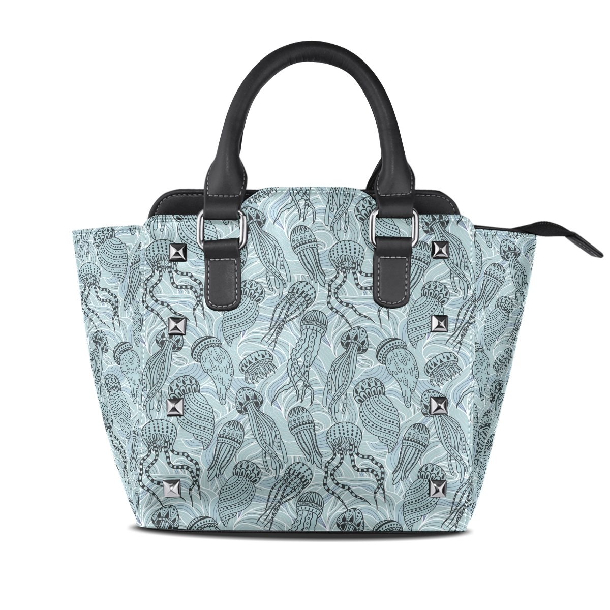 Womens Genuine Leather Hangbags Tote Bags Jellyfish Purse Shoulder Bags