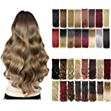 Florata 24 Inches 3/4 Full Head One Piece 5clips Clip in Hair Extensions Hairpieces Long Curly Ash Blonde