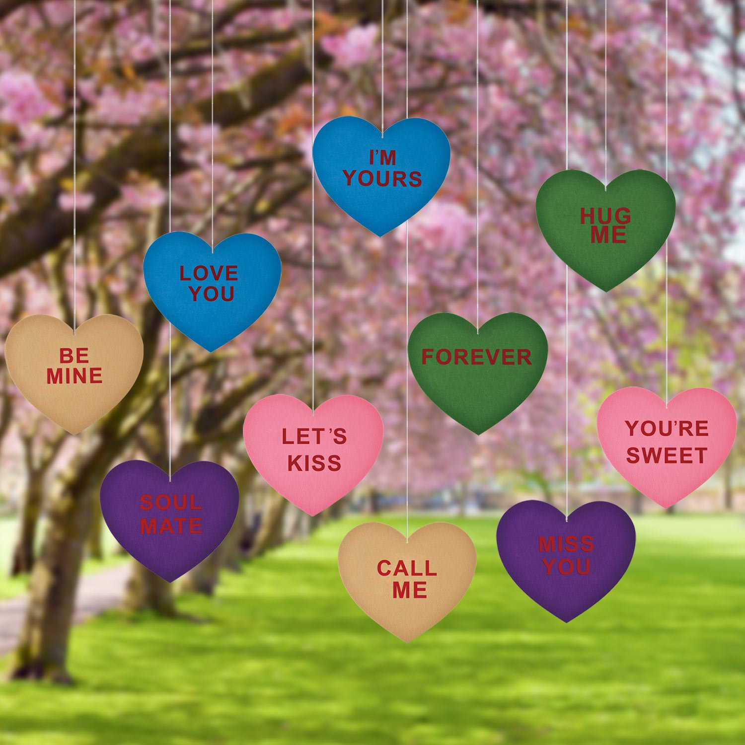 Mtlee 10 Pieces Valentine's Lawn Decorations Hanging Candy Hearts for Wedding and Party, Large