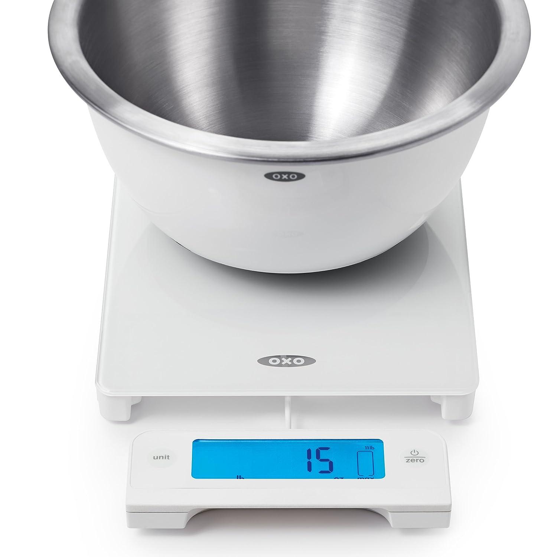 OXO Good Grips alimentos escala de cristal digital con pantalla extraíble, 11 Libra blanco: Amazon.es: Hogar