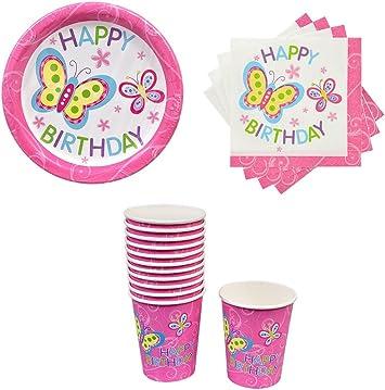 Amazon.com: Conjunto de platos, vasos y servilletas de papel ...
