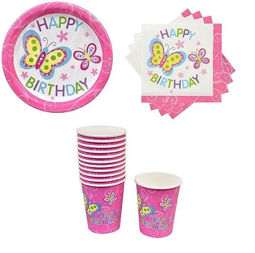Set de cumpleaños mariposa desechables platos de papel ...