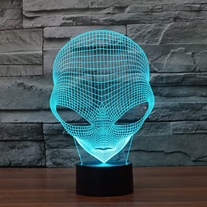FLYMEI 3D Optical Illusion Desk Lamp Unique Night Light For Home Decor 7 Colors Changing USB