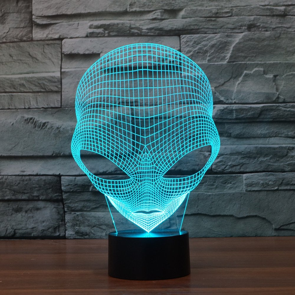 FLYMEI 3D Optical Illusion Desk Lamp Unique Night Light Home Decor 7 Colors Changing USB Powered Touch Button LED Table Lamp - Best Gift Kids/ Friends/ Birthdays/Holidays (Alien)