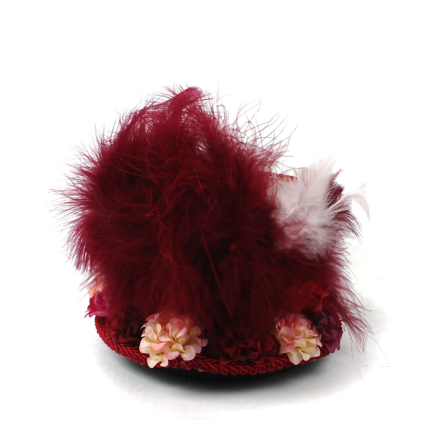 LL Women;s Red Mini Top Hat, Antique Red and Ivory Tea Cup Hat Mad Hatter Hat, Tea Hat,Mad Hatter Tea Party (Color : Red, Size : 25-30cm) by LL (Image #3)