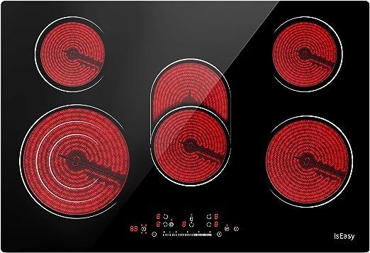 Glaskeramikkochfeld Touch-Steuerung 6000W 60cm Elektrisches Kochfeld mit 4 Kochzonen 9 Heizstufen Fest Verdrahtet Eingebautes Keramisches Kochfeld IsEasy Elektrokochfeld